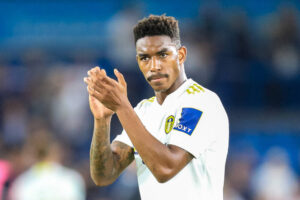Junior Firpo reacts to Leeds United's third kit reveal